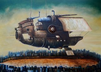 Tony Rodriguez  Juan Antonio Rodriguez Olivares: 'who we are', 2015 Oil Painting, Surrealism. Artist Description: cities, ships...