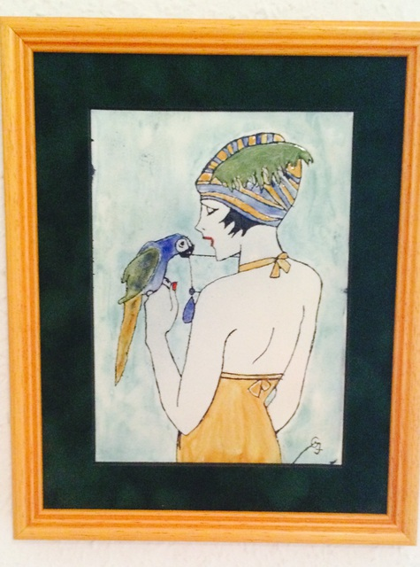 Artist Judit Gabor. 'Girl With Parrot' Artwork Image, Created in 2015, Original Glass Stained. #art #artist