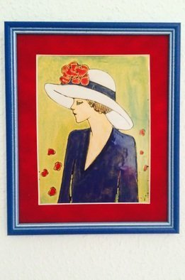 Judit Gabor: 'Girl with white hat', 2015 Enameling, Portrait.