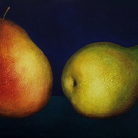 Judyta Bil: '4 pears on ultramarine', 2008 Oil Painting, Still Life. Artist Description:  Beautiful texture and light for a dramatic look . ...