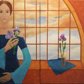 Lady with Irises By Judyta Bil