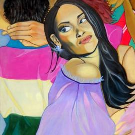 Cecilia Eres: 'tropicombo', 2009 Oil Painting, Abstract Figurative. Artist Description: Scene from a Latin American dance session. Passionate, colorful and mysterious. ...