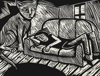 Julian Dourado: 'Cat and Sofa', 1996 Linoleum Cut, Surrealism. A graphic demonstration of what sometimes happens when you fall asleep on a Sunday afternoon after a heavy meal.  Themes Surrealism, expressionism, cat, sofa, sleep, dream. ...