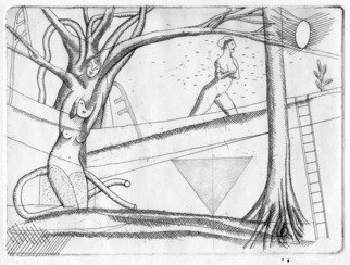 Julian Dourado: 'garden drawing i', 2006 Other Drawing, Figurative. Artist Description: Unique combined etching and pencil drawing. Themes: urban garden, trees, backyard, nature spirits, plant spirits, dryads, esoteric, magick, paganism, surrealism. ...