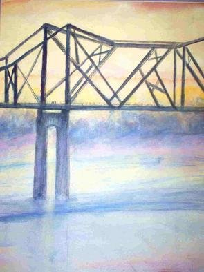 Julie Hall- Rainey: 'Bridge', 2005 Mixed Media, Transportation. Bridge is a painting of the Mississippi Nathez Bridge , bright with the sinking sun, reds, oranges , grays and violets. watercolor & Pastels. Matted Price 300. 00 ...