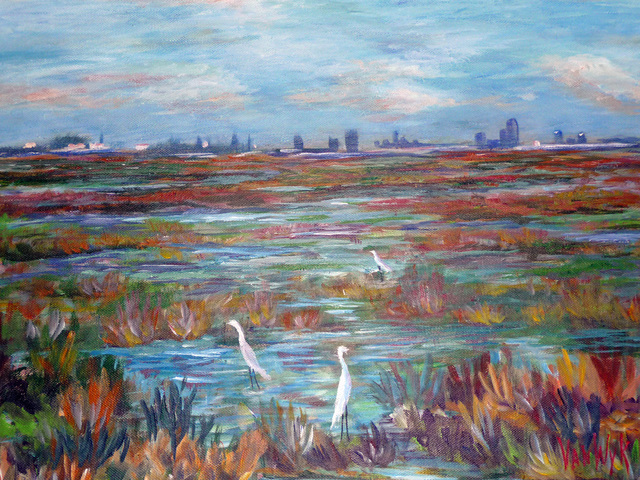 Julie Van Wyk  'Martinez Marshlands', created in 2010, Original Painting Oil.