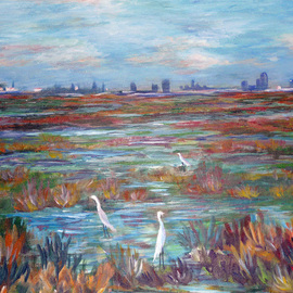 Julie Van Wyk Artwork martinez marshlands, 2010 Acrylic Painting, Landscape