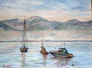 Artist: Julie Van Wyk - Title: misty morn on lake tahoe  - Medium: Acrylic Painting - Year: 2010