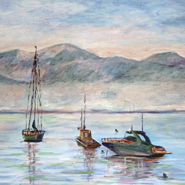 Julie Van Wyk Artwork misty morn on lake tahoe , 2010 Acrylic Painting, Boating