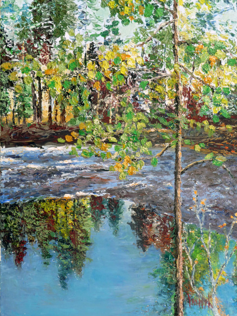 Julie Van Wyk  'Reflecting Pond ', created in 2011, Original Painting Oil.