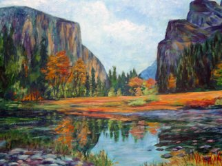 Landscape Acrylic Painting by Julie Van Wyk Title: summer in yosemite, created in 2010