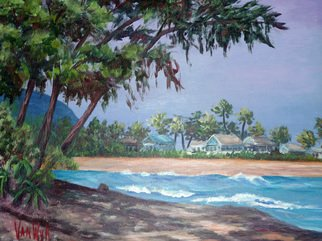 Landscape Acrylic Painting by Julie Van Wyk Title: sunset beach , created in 2010