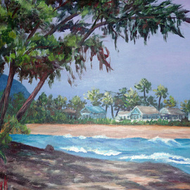 Julie Van Wyk Artwork sunset beach , 2010 Acrylic Painting, Landscape