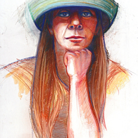 Juraj Skalina Artwork New Hat, 2004 Pastel, Portrait