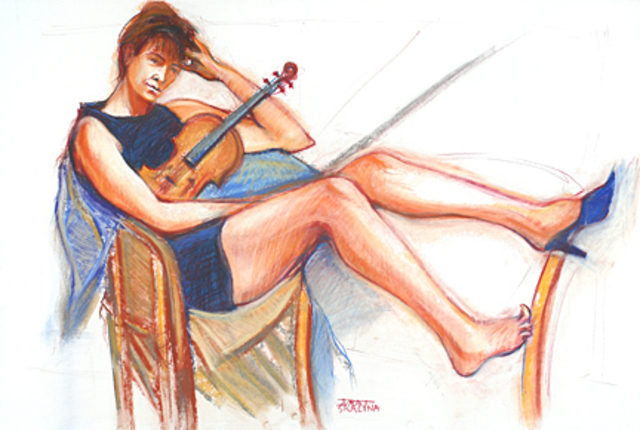 Juraj Skalina  'Violinist', created in 2005, Original Drawing Pencil.