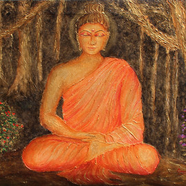 Goutami Mishra: 'buddha under tree', 2019 Acrylic Painting, Buddhism. Artist Description: This is an embossed textured painting of Gautam Buddha in acrylic colors. In this painting Buddha is meditating under a tree in a deep forest. This painting gives effect of rustic golden color with black and dark background which enhance its beauty. Embossed texture of trees make it ...