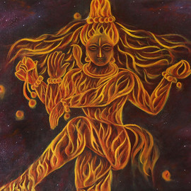 Goutami Mishra: 'god shiva natraj', 2018 Oil Painting, Hindu. Artist Description: This is an oil painting of Natraj a form of God Shiva, who is considered as cosmic dancer.  According to Hindu religion God Shiva is Creator and destroyer of Universe and root source of energy.  Here in this painting God Shiva is dancing and energy emitted from himcreates ...