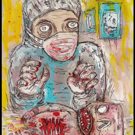 Justin Aerni: 'Doctor Damnation', 2010 Acrylic Painting, Outsider. Artist Description:  ~TITLE OF PAINTING~~ Doctor Damnation ~ARTWORK CREATED ON: Thick Card- stock PaperAPPROXIMATE SIZE: 8. 5