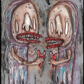 Justin Aerni: 'The Heart Reapers', 2010 Acrylic Painting, Outsider. Artist Description:  ~TITLE OF PAINTING~~ The Heart Reapers ~ARTWORK CREATED ON: Thick Card- stock PaperAPPROXIMATE SIZE: 8. 5