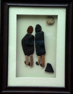 Jyothi Chinnapa Reddy: 'a couple walking away', 2017 Sandstone Sculpture, Abstract. Artist Description: pebble arts...