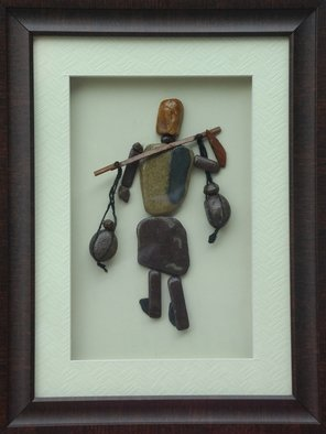 Jyothi Chinnapa Reddy: 'a village man with pots', 2017 Crafts, Abstract. Artist Description: it is made with natural pebble stones and a beautiful frame...