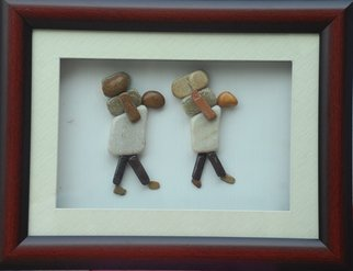 Jyothi Chinnapa Reddy: 'two persons carrying weights', 2017 Crafts, Abstract. Artist Description: it is made with natural pebble stones and a beautiful frame...