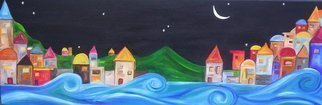 Landscape Acrylic Painting by Jyoti Thomas Title: By the sea at Night, created in 2010