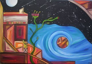 Jyoti Thomas: 'Two worlds with New Life', 2010 Acrylic Painting, Abstract Landscape.     part of the Night Sea Journey series             ...