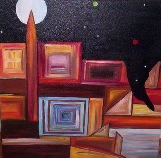 Jyoti Thomas: 'contact begins', 2010 Mixed Media, Abstract Landscape.   Night / Earth/ nature         ...