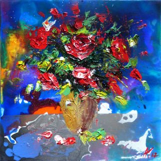 Anastasiya Kachina: 'roses', 2017 Oil Painting, Floral. Artist Description: roses, bouquet...