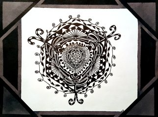Neal Alicakos: 'birth of a mandala', 2017 Ink Drawing, Mandala. Black and white Mandala with black and gray borders. Mandalas are one of my favorite types of artwork. It is created from your inner soul and an expression of ones self as you add to it. I find it to be very relaxing and meditating when making it. ...