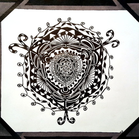 Neal Alicakos: 'birth of a mandala', 2017 Ink Drawing, Mandala. Artist Description: Black and white Mandala with black and gray borders. Mandalas are one of my favorite types of artwork. It is created from your inner soul and an expression of ones self as you add to it. I find it to be very relaxing and meditating when making it. ...