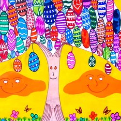 , Tree Of The Easter Eggs, Abstract Figurative, $36