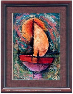 Asher Kalderon Artwork Boat in stormy weather, 1965 Oil Painting, Landscape