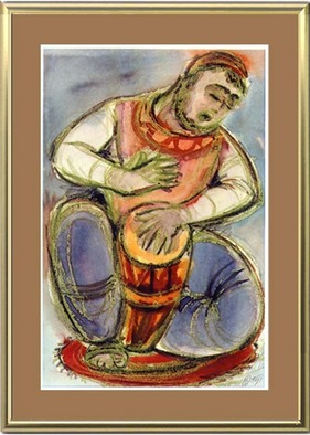Artist: Asher Kalderon - Title: Oriental Drummer - Medium: Watercolor - Year: 1971
