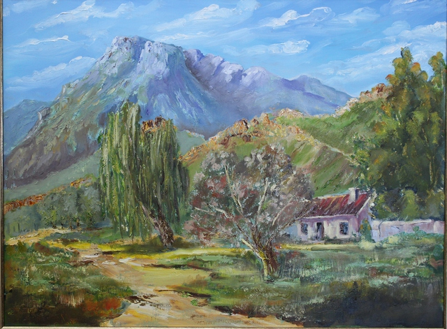 Willem Petrus Kallmeyer  'Old Farm Yard Cape Mountains', created in 2014, Original Painting Oil.
