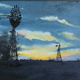 Willem Petrus Kallmeyer: 'sunset in the karoo', 2014 Oil Painting, Scenic. Artist Description:  the vastness of the karoo compels the drilling for water for livestock as power is to expesive to supply. the clean air makes the sunsets so much brighter, something to behold     ...