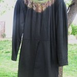 Cascading Hand Painted Neckline Vtg Adrienne Vittadini Black Leather Dress 4, Liz Chambers