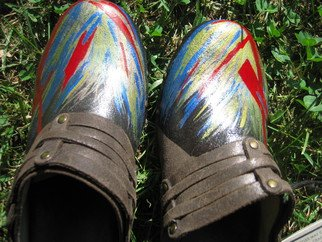 Liz Chambers: 'Hand painted Abstract Frye Brown Leather Clogs 6M', 2013 Leather, Abstract.  NEW- with tag- Frye brand Brown Distressed Leather Women's Clogs- Size: 6MBold abstract done with Acrylic paint in Icy Blue( Metallic) , Red, Gold( Metallic) ...