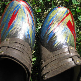 Hand Painted Abstract Frye Brown Leather Clogs 6m, Liz Chambers