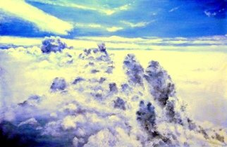 Kalli Matzora: 'clouds', 2015 Oil Painting, Sky. Artist Description: clouds, sky, blue...