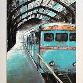 Kalli Matzora: 'fast', 2008 Oil Painting, Trains. Artist Description: station, train, blue...