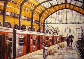 Kalli Matzora: 'station', 2009 Oil Painting, Trains. Artist Description: station, train, orange...