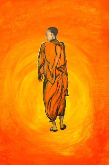 Kalvintaka Tan  'A MONK WALKING TOWARDS THE REALM OF A SUN', created in 2015, Original Painting Acrylic.
