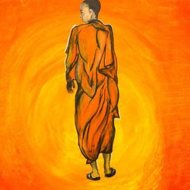 Kalvintaka Tan: 'A MONK WALKING TOWARDS THE REALM OF A SUN', 2015 Acrylic Painting, Abstract Figurative. Artist Description:  Title: A MONK WALKING TOWARDS THE REALM OF A SUNMedia: Acrylic On CanvasDimension: 28 x 42 x 1/ 4Duration: 2 DaysStatus: FOR SALE ( Call for assistance) For clearer image, please go to: