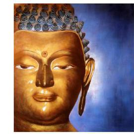 Kumar Nayan: '       BUDDHA CODE  P102', 2013 Oil Painting, Buddhism. Artist Description:  The Painting Shows Buddha Sitting In Deep Meditation. The Painting Shows the Left half Face of Buddha. In the background is the Aura of Enlightment Light. ...