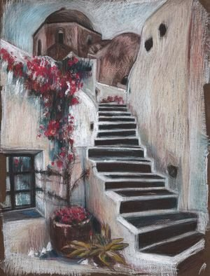Elzbieta Kamienska: 'greece', 2017 Pastel, Landscape. Artist Description: Keywords: red, rose, south, stairs, town, bright, brown, buildings, cream ...