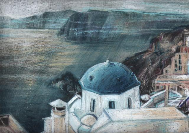 Elzbieta Kamienska: greece, 2017 Oil and Pastel