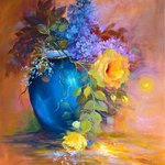 lilac in blue vase By Camelia Elena