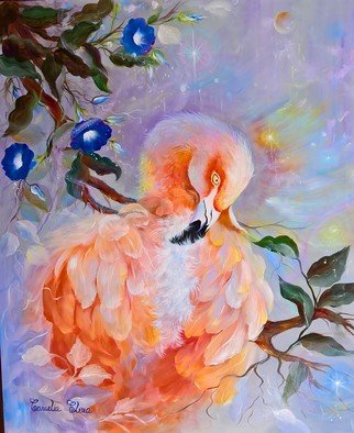 Camelia Elena: 'pink flamingo and blue flowers', 2017 Oil Painting, Birds. Artist Description: oil painting made in 2017on canvas fine grained, cotton. i used high quality coloursrembrandtand final transparent paint to preserve the quality in time . i took inspiration from one of my favorite artists, alot of pictures and let the immagination flow . the art tecqnique that i use mostly is ...